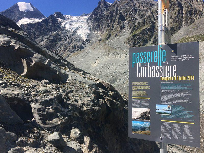 Commune de Bagnes – Panneau – Passerelle Corbassière