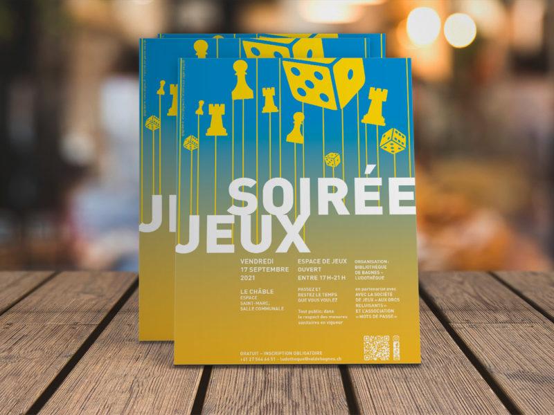 Bibliothèque de Bagnes – Flyer – Soirée jeux